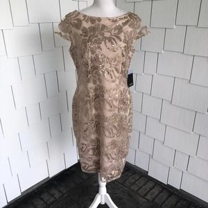 Marina Boat Neck Embroidered Sequin Dress Size 10P